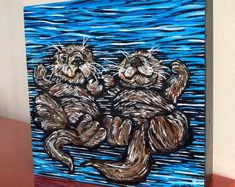 """Otter Love, 6x6"""" Original Acrylic Painting by Tracy Levesque"""