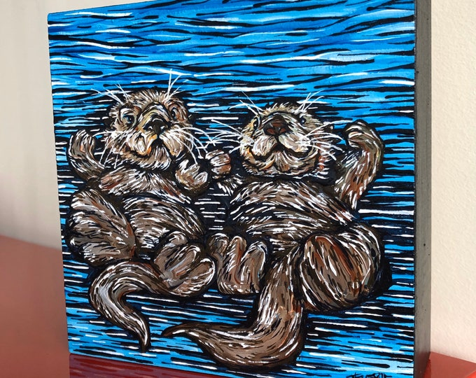 "Otter Love, 6x6"" Original Acrylic Painting by Tracy Levesque"