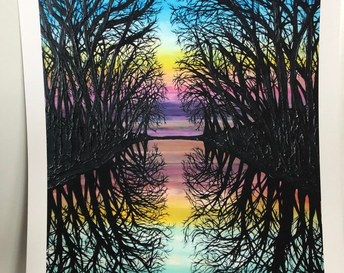 """Mirror Water Tree Reflection 11x14"""" unmatted fine art giclee print by Tracy Levesque"""