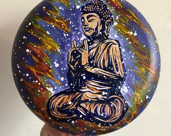 "The Return, 8"" Round original acrylic painting of the Buddha by Tracy Levesque"