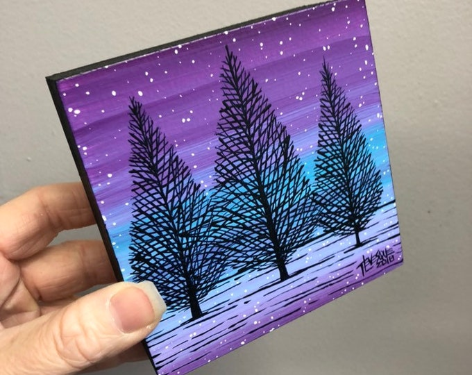 "4x4"" One of a kind original painting of Winter Trees NB61 by Tracy Levesque"