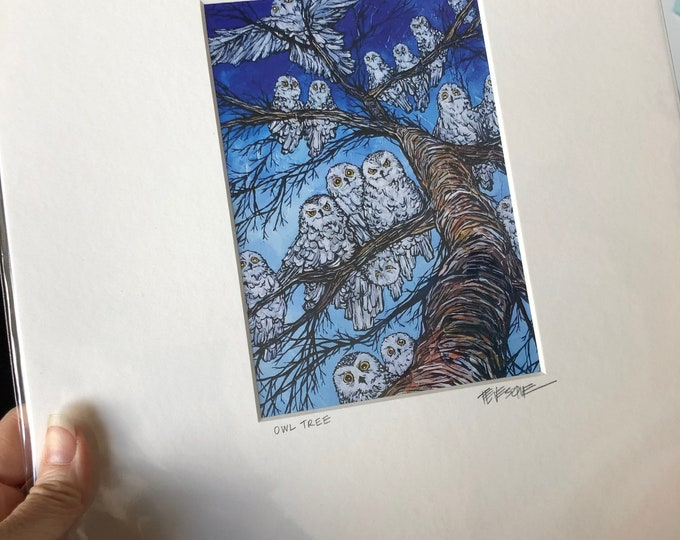 """Owl tree print by Tracy Levesque (5x7"""" print in an 11x14"""" mat)"""