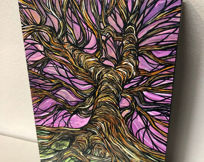"5x7"" Roots of the Tree original painting by Tracy Levesque"