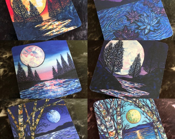 """Moon Coasters Sold Separately - Flexible Fabric - Perfect for Summer Drinks - 3.5"""" Square Coasters featuring artwork by Tracy Levesque"""