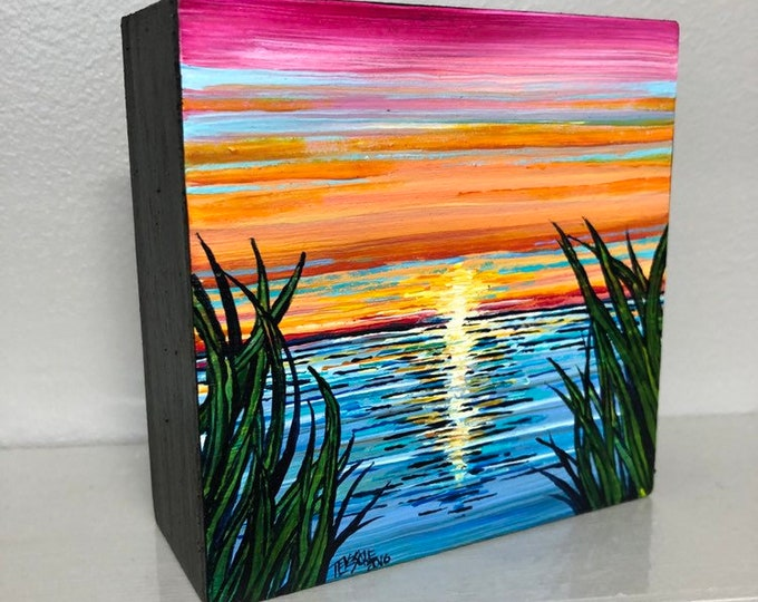 "4x4"" Original acrylic painting Sunset on Cape Cod by Tracy Levesque"