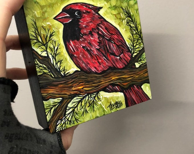 "4x4"" Summer Cardinal Original Painting by Tracy Levesque one of a kind"