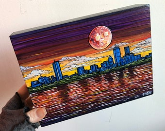 "6x8"" Rainbow Boston Skyline at Night original acrylic painting by Tracy Levesque"
