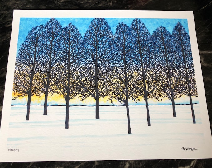 """Serenity - Winter Tree Silhouettes 11x14"""" Fine Art giclee print by Tracy Levesque"""