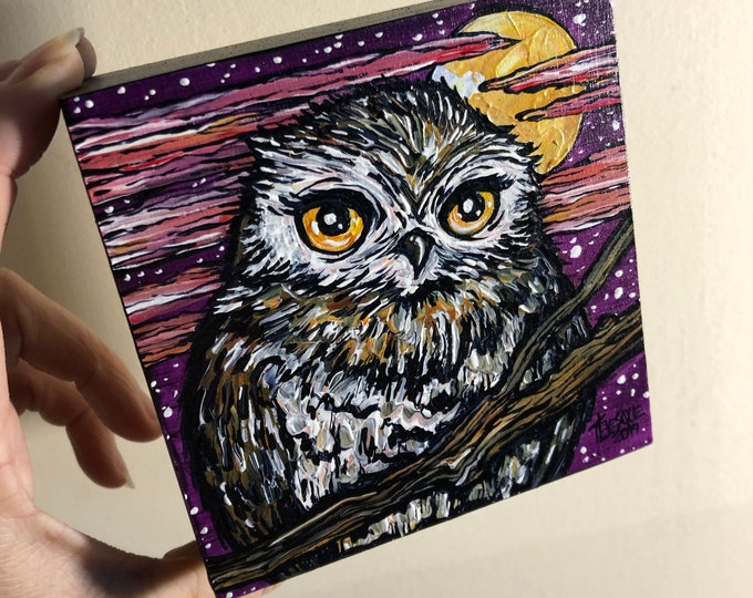 """Whoooo loves a full moon? Cute little owl painting by Tracy Lévesque 4x4"""" one of a kind"""