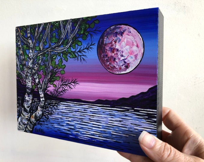 "6x8"" Original acrylic painting by Tracy Levesque Moon Glow Birches"