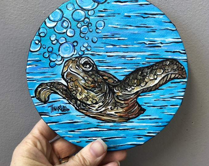 """Swimming Sea Turtle 6"""" Round original acrylic painting by Tracy Levesque"""