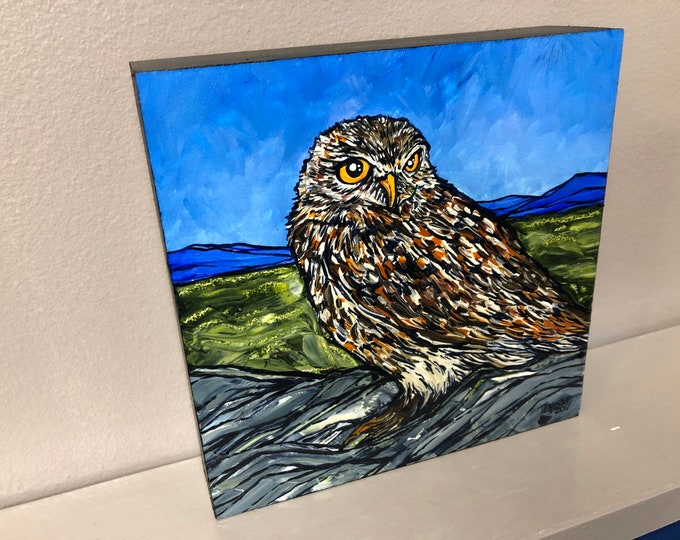 "6x6"" Majestic Owl original painting by Tracy Levesque"