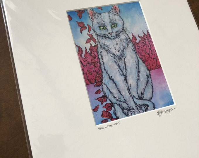 "Matted print of the White Cat by Tracy Levesque (11x14"" mat size, 5x7"" print size)"