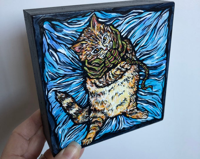 """Cat vs Alien Facehugger 5x5"""" original acrylic painting by Tracy Levesque"""