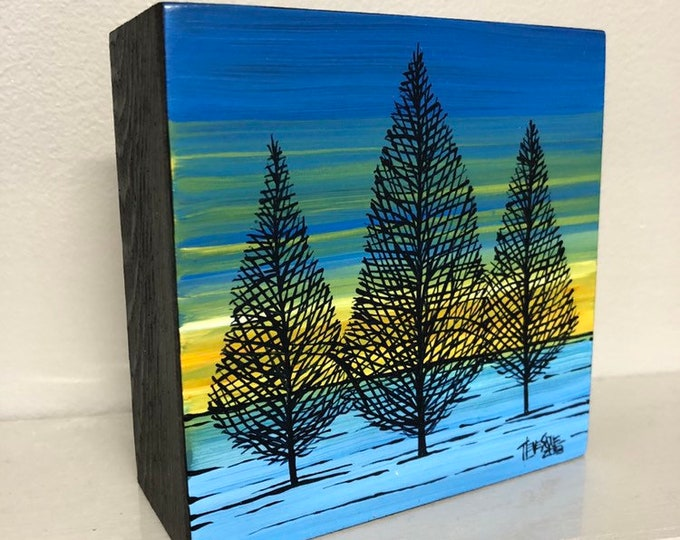 """4x4"""" Original acrylic painting Tree Sunset by Tracy Levesque"""