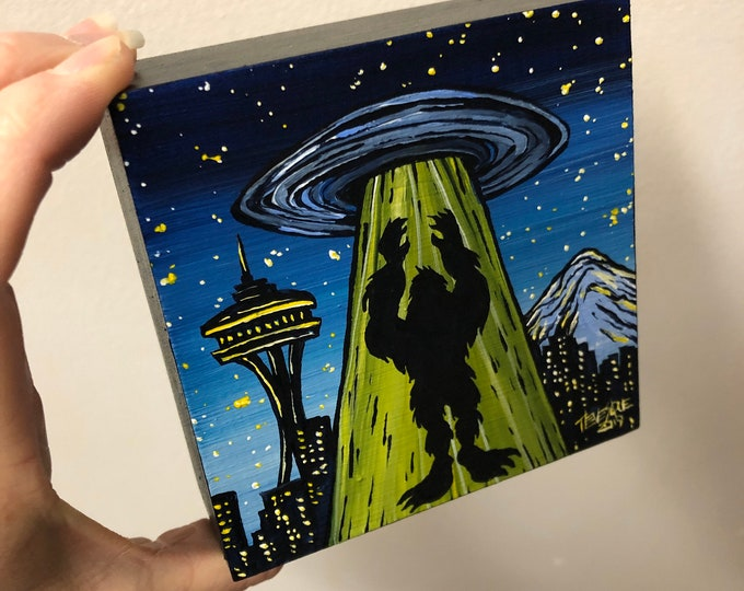 "4x4"" Sasquatch Seattle UFO original acrylic painting by Tracy Levesque"