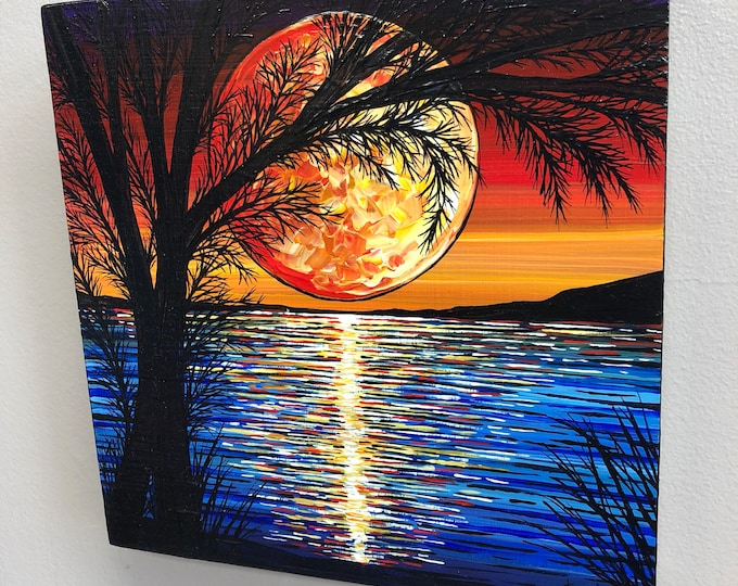 Warm Pink Moon original acrylic painting by Tracy Levesque