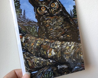 "5x7"" Wise Owl greeting card gathering artwork by Tracy Levesque"