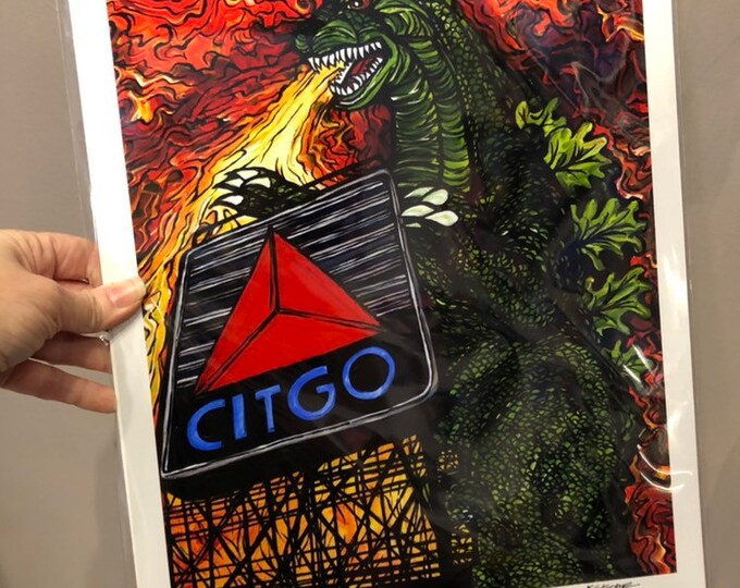Boston Citgo Sign Gets Roasted! Limited Edition metallic photo print by Tracy Levesque 11x14""