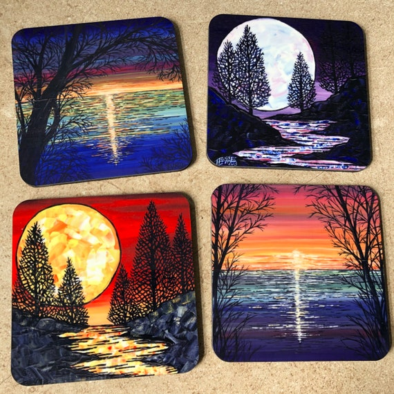 Full Moons and Sunsets - Coaster set of 4 featuring artwork by Tracy Levesque