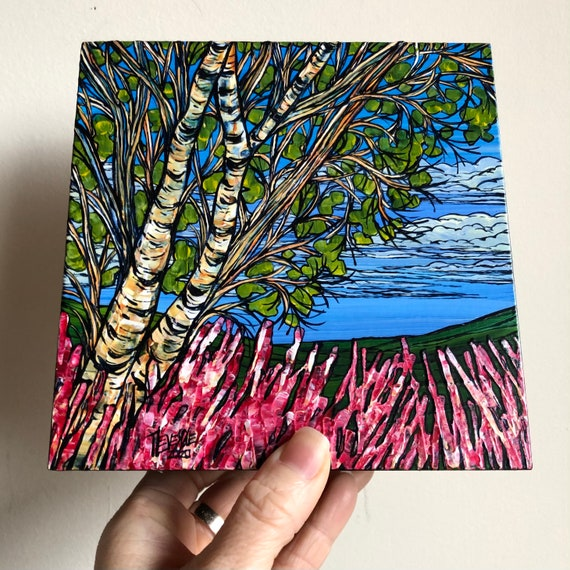 "6x6"" Birch Flowers original painting by Tracy Levesque"