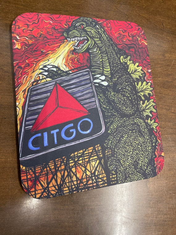 Boston Monster Dragon Roasting Citgo Mousepad featuring artwork by Tracy Levesque