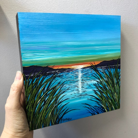 """Heavenly View 8x8"""" original acrylic painting by Tracy Levesque"""