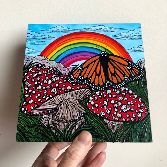 "6x6"" Monarch Butterfly Rainbow with Magic Mushrooms original acrylic painting by Tracy Levesque"