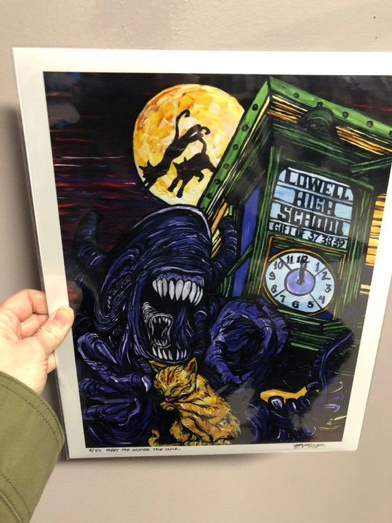 """11x14"""" Limited Edition Print of Alien Xenomorph and Cat Meet Me Under the Clock Lowell, MA by Tracy Levesque"""