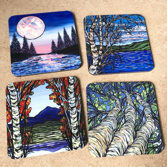 Scenes of New England - Set of 4 Coasters featuring artwork by Tracy Levesque