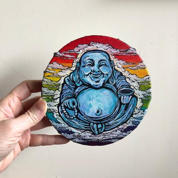 "6"" Round Lucky Rainbow Buddha original acrylic painting by Tracy Levesque"