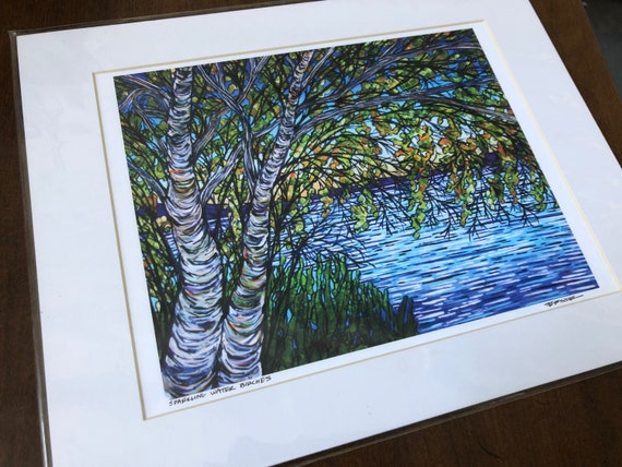 "Sparkling Water Birches 11x14"" giclee print by Tracy Levesque (print size is approximately 8x10"" inside 11x14"" mat)"