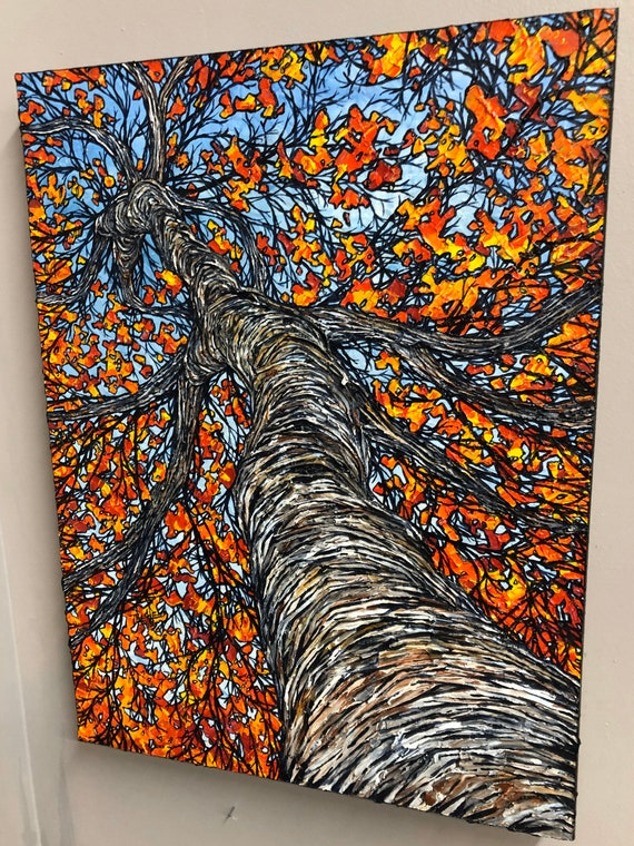"""Burning Birch, 18x24"""" original acrylic painting by Tracy Levesque"""
