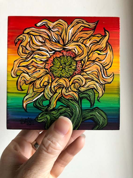 "4x4"" Rainbow Sunflower Mini original flower painting by Tracy Levesque"