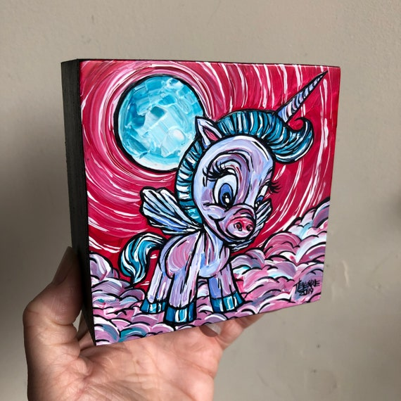 "4x4"" Magical Unicorn Pegasus Alicorn mini acrylic painting by Tracy Levesque"