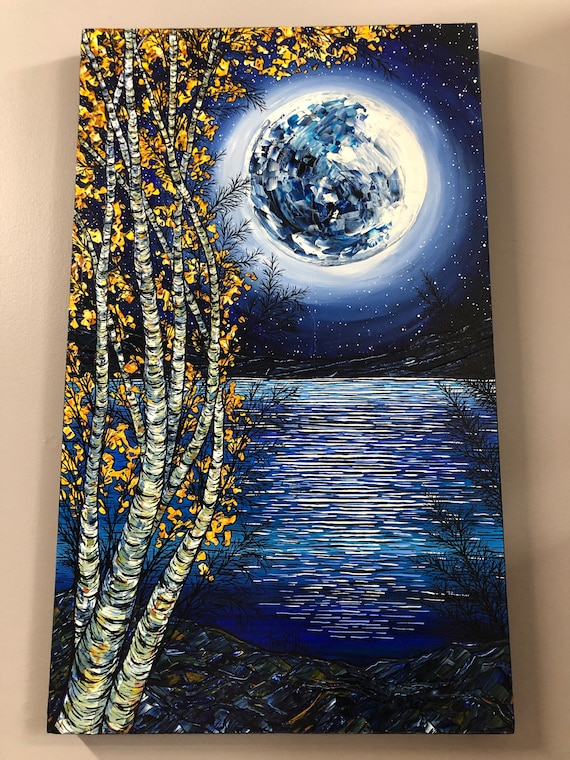 "18x30"" Magical Moon Lake gorgeous full moon with birch trees original acrylic painting by Tracy Levesque"