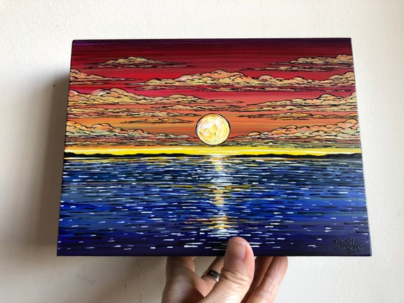 "6x8"" A Moment of Calm Rainbow Sunset original acrylic painting by Tracy Levesque"