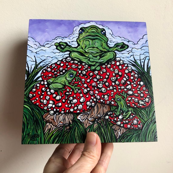 """6x6"""" Magic Mushroom Guru in the Clouds Frog Painting original acrylic painting by Tracy Levesque"""