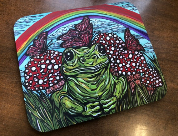 Whimsical Rainbow Frog with Butterflies and Mushrooms Frog Lover Mousepad