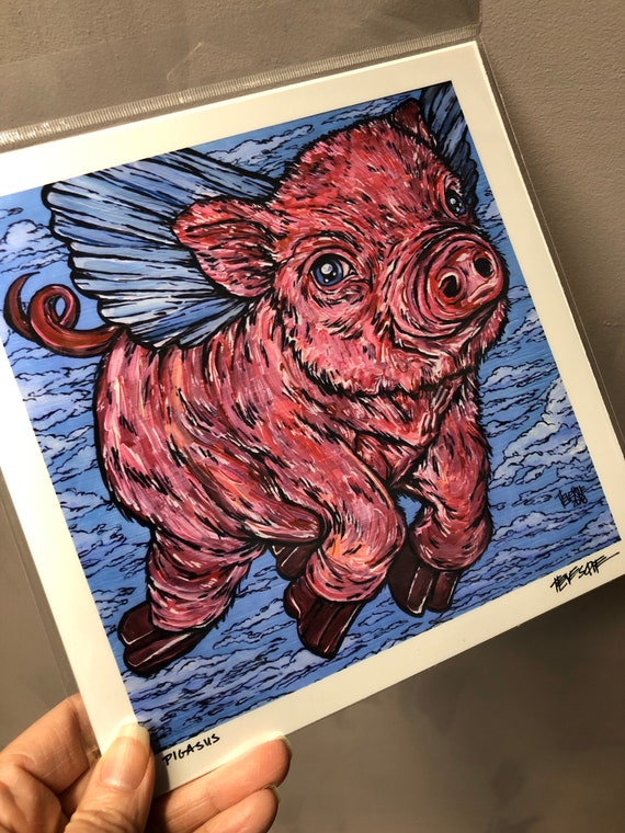 """8x8"""" Pigasus Flying Pig Print by Tracy Levesque"""