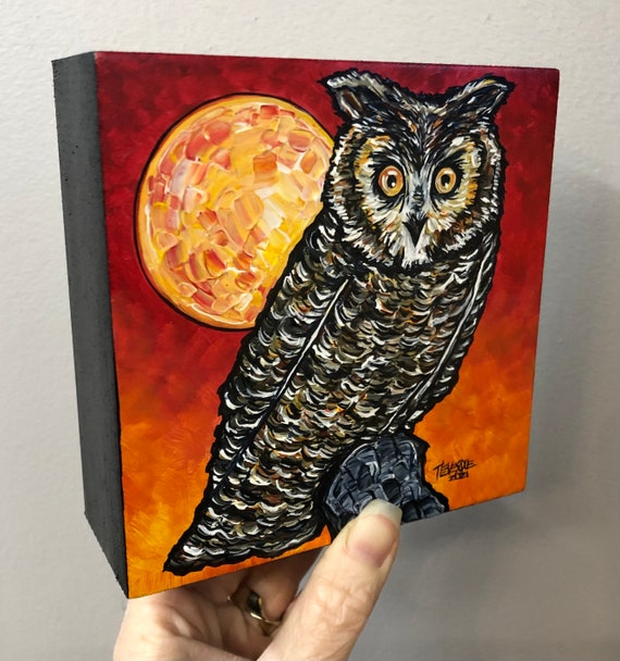 """5x5"""" The Owl and the Moon original acrylic painting by Tracy Levesque"""