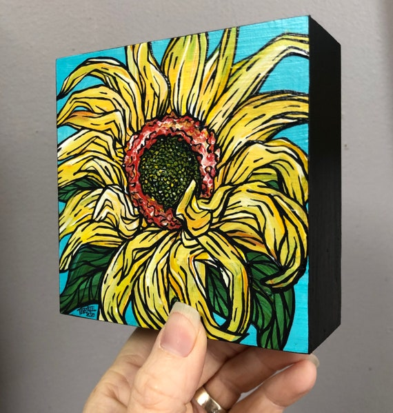 "4x4"" Sunflower Delight original acrylic painting by Tracy Levesque"