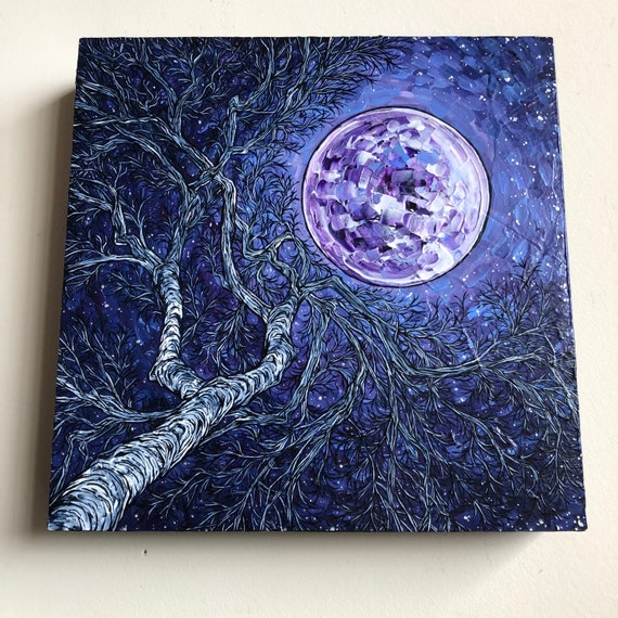 "12x12"" Beneath the Super Moon Painting by Tracy Levesque"