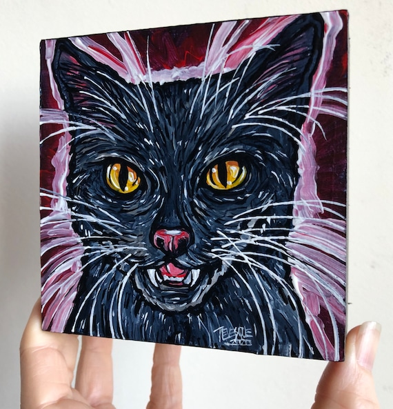 "4x4"" Dracula Black Cat original acrylic painting by Tracy Levesque"