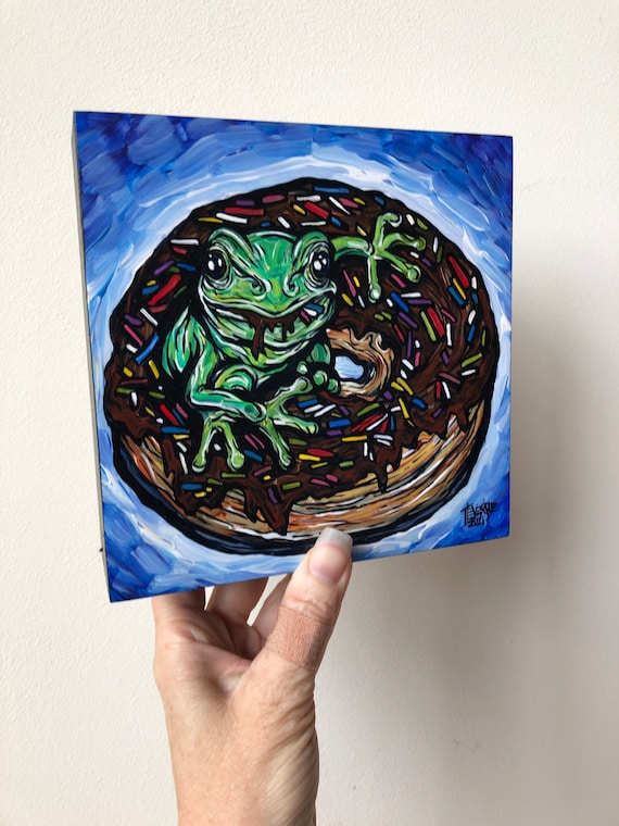 """6x6"""" Tree frog enjoying a chocolate frosted donut original acrylic painting by Tracy Levesque"""