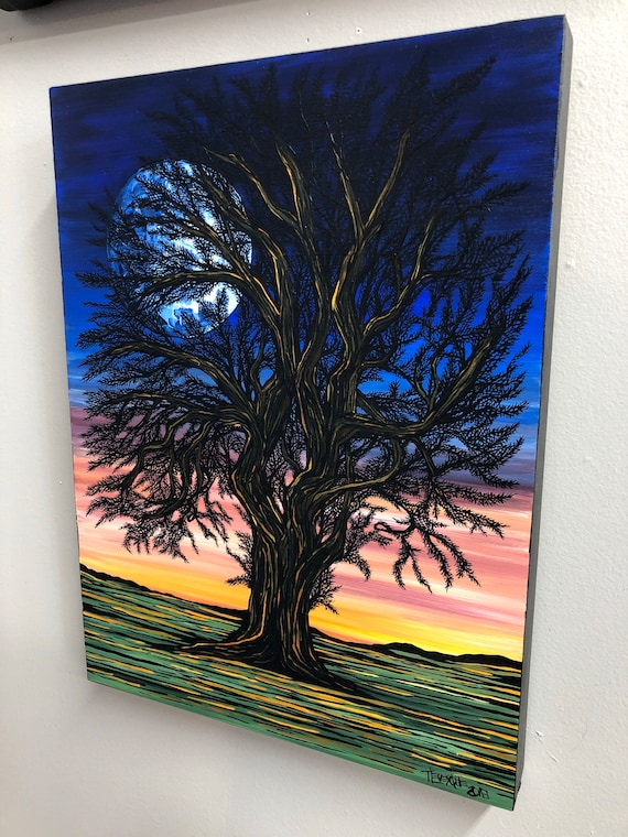 """Tree of Reflection, 12x16"""" original acrylic painting by Tracy Levesque"""