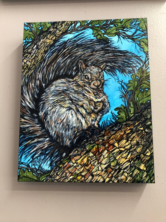 """11x14"""" Squirrel in Tree original acrylic painting by Tracy Levesque"""