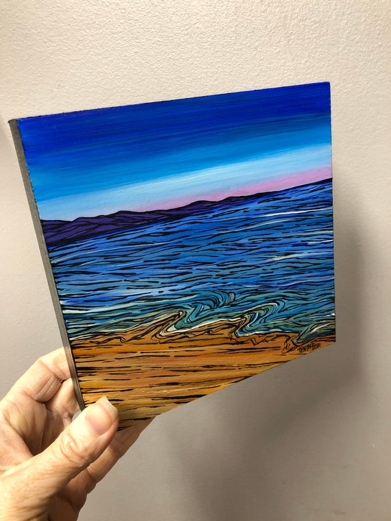 """6x6"""" Ocean Sky original acrylic painting by Tracy Levesque"""