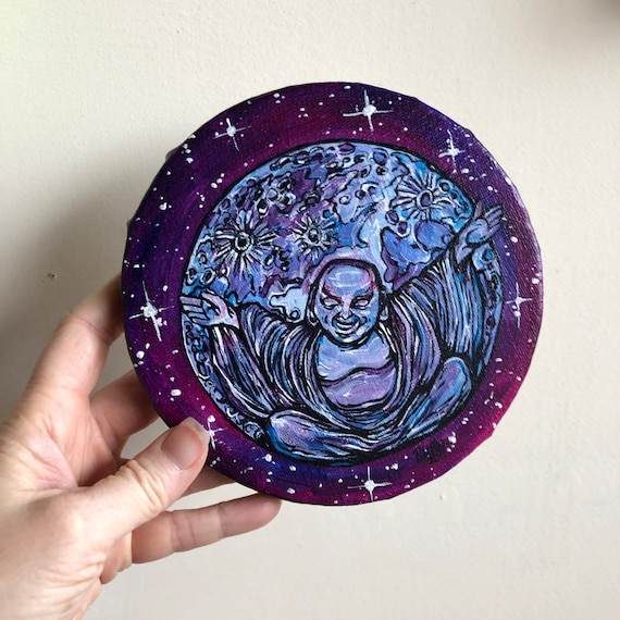 """6"""" Round Laughing Moon Buddha original acrylic painting by Tracy Levesque"""