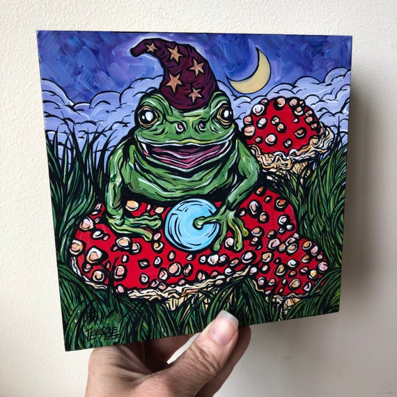 """6x6"""" Frog Witch original acrylic painting by Tracy Levesque"""